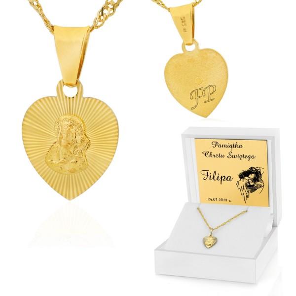 pamiątka chrztu złoty medalik w pudełku z grawerem