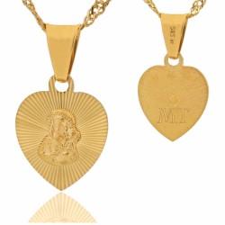 złoty medalik serduszko z Matką Boską na prezent