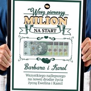 pierwszy milion na start obraz w ramce z personalizacją na prezent dla pary