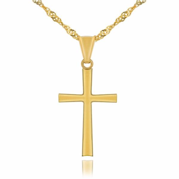 złoty krzyżyk z łańcuszkiem na prezent