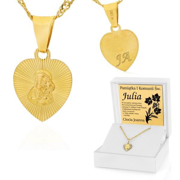 złoty łańcuszek z medalikiem 585 w pudełku z grawerem