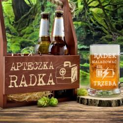 drewniana skrzynka na 4 piwa z kuflem z okazji urodzin