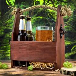 drewniana skrzynka na piwo z grawerem na prezent na urodziny