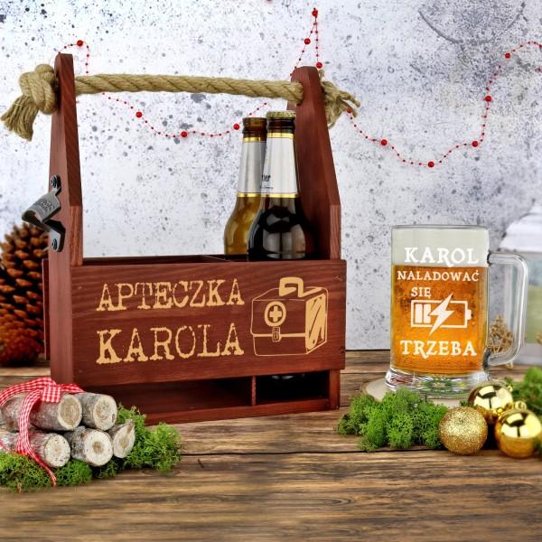 kufel i skrzynka z grawerem na prezent na święta