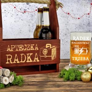 skrzynka na piwo i kufel na prezent dla niego na święta