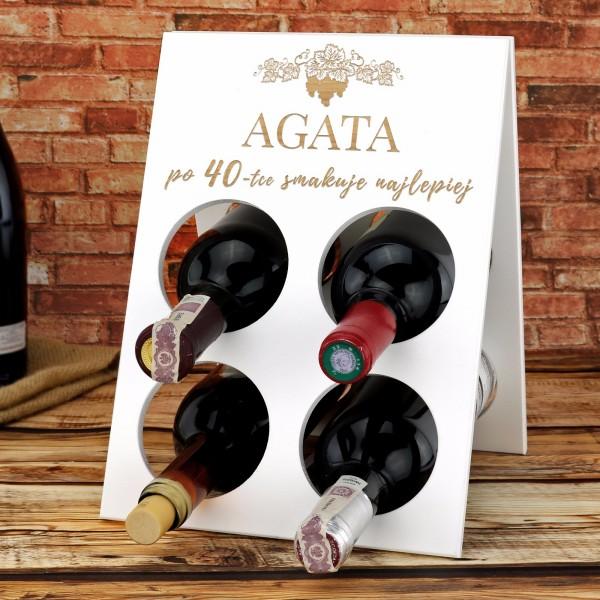 stojak na wino z grawerem na prezent urodzinowy dla niej