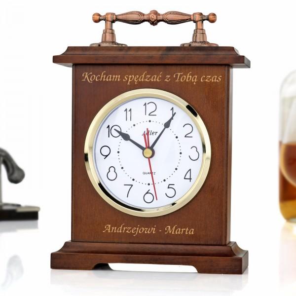 zegar kwarcowy z grawerem na kominek na prezent na urodziny