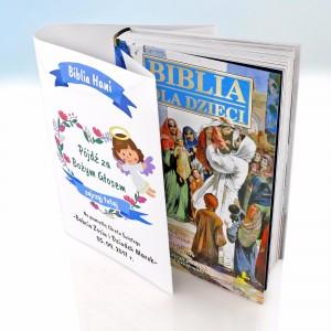 biblia na chrzest z spersonalizowną obwolutą na prezent