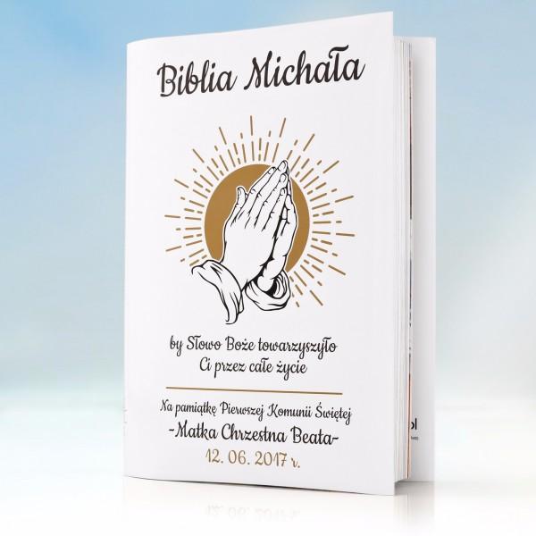 biblia na komunię z personalizowaną okładką