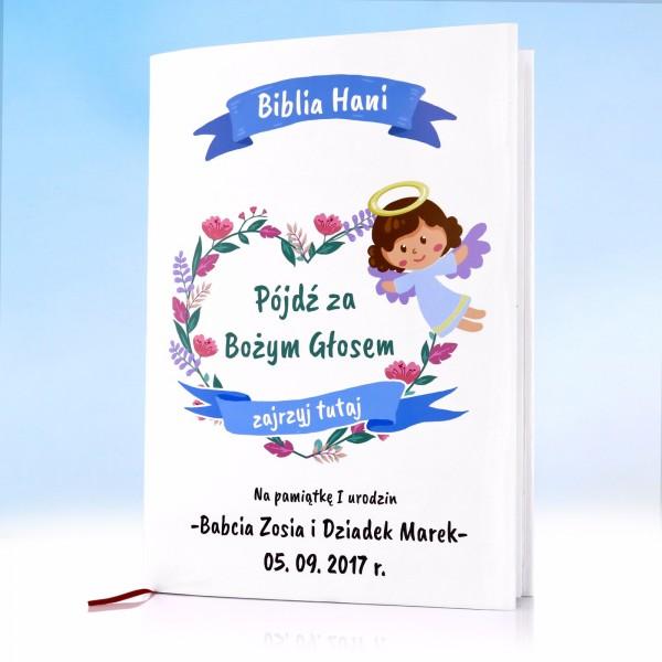 Biblia z personalizowaną okładką na upominek z okazji pierwszych urodzin