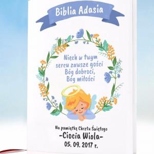 biblia z personalizowaną okładką na prezent z okazji chrztu