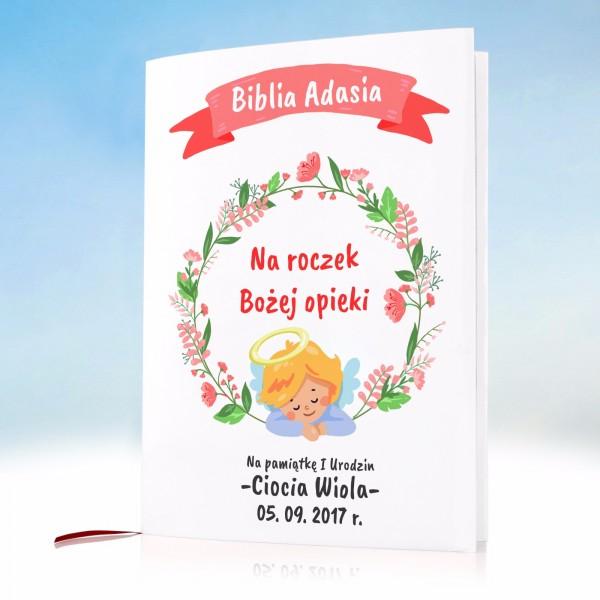 biblia na prezent z okazji pierwszych urodzin z personalizowaną okładką