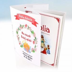spersonalizowana okładka na biblie na prezent na roczek