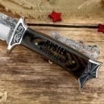 myśliwski nóż z grawerem na prezent