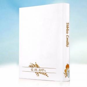biblia na komunie z personalizowaną okładką