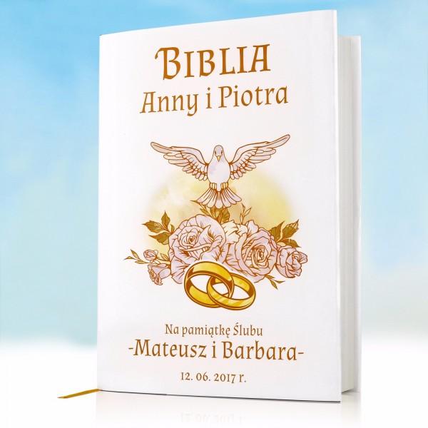 biblia z personalizowaną okładką na prezent dla nowożeńców