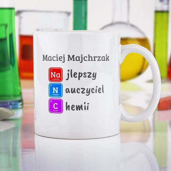 kubek na prezent dla nauczyciela chemii z personalziacją
