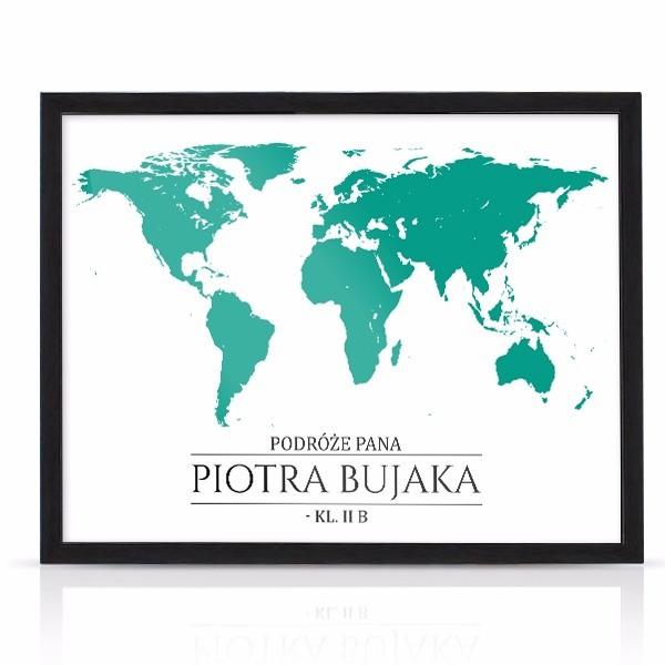prezent dla nauczyciela geografii foto obraz w ramie z dedykacją