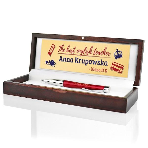 prezent dla nauczyciela języka angielskiego długopis parker w etui z dedykacją