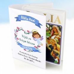 spersonalizowana okładka na biblię na upominek z okazji chrztu