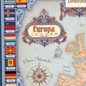 mapa europy z nadrukiem życzeń na prezent dla wychowawcy