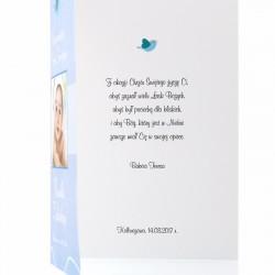 spersonalizowana kartka z życzeniami na chrzest dla chłopczyka