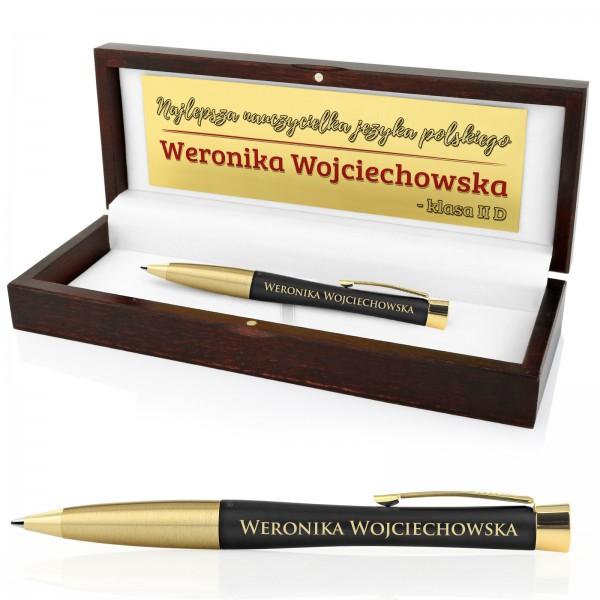 podziękowanie dla wychowawcy długopis Parker w drewnianej szkatułce z grawerem