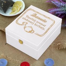 drewniana skrzynka na herbatę na prezent dla kobiety