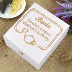 skrzynka na herbatę z grawerem na prezent na urodziny