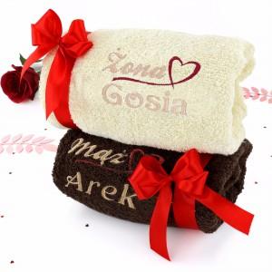 zestaw ręczników z haftem dla pary na prezent