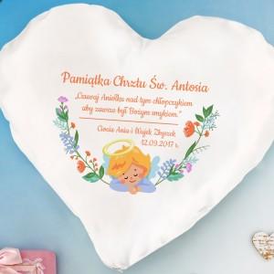 poduszka serce z nadrukiem na prezent z okazji chrztu