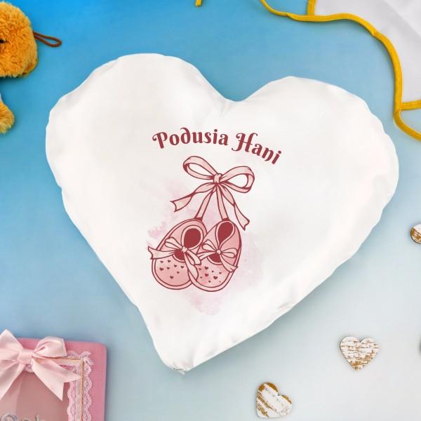 poduszka serce z nadrukiem na prezent dla dziecka
