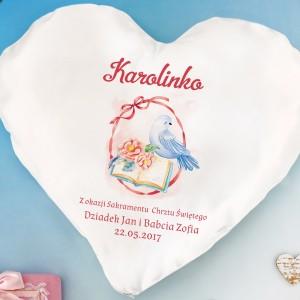 personalizowana poduszka serce na prezent z okazji chrztu