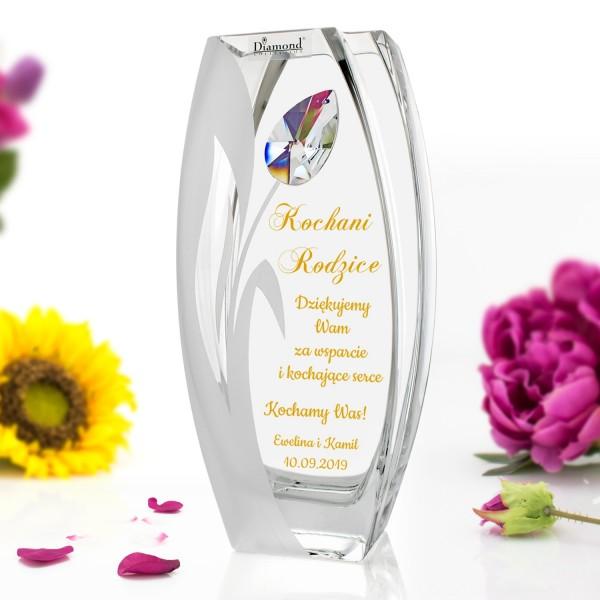 wazon z grawerem dedykacji na podziękowania dla rodziców