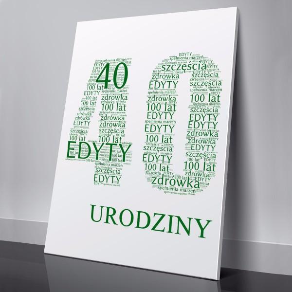 obraz ze słów na prezent na 40 urodziny dla niej