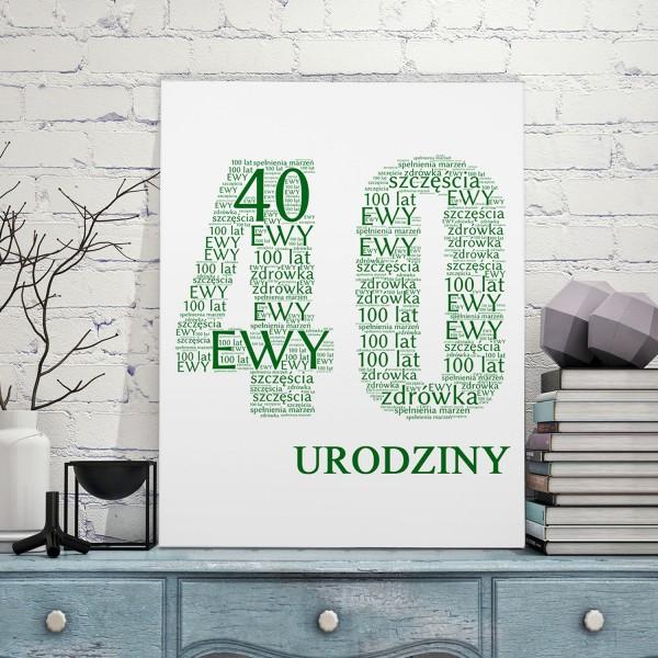 obraz ze słów na 40 urodziny