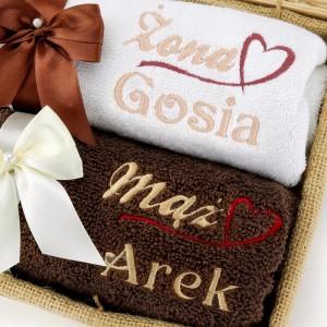 ręczniki z haftem imion na prezent dla pary
