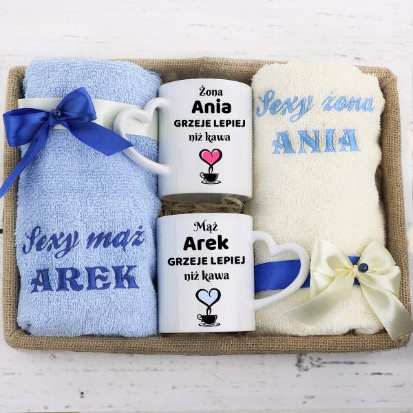 personalizowany zestaw dla pary: ręczniki + kubki