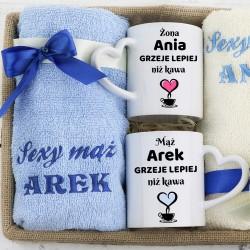 zestaw dla pary kubki i ręczniki z haftem