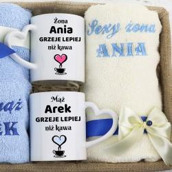 zestaw prezentowy dla pary ręczniki i kubki
