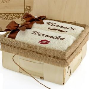 ręczniki z haftem na prezent dla pary