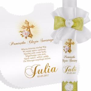 szatka i świeca dla dziewczynki na pamiątkę chrztu świętego