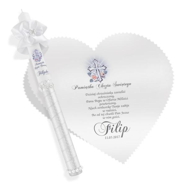 szatka ze świecą z nadrukiem na pamiątkę chrztu świętego