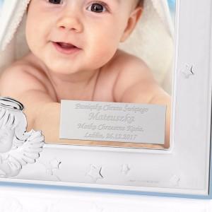 srebrna ramka na pamiątkę chrztu świętego dla chłopca