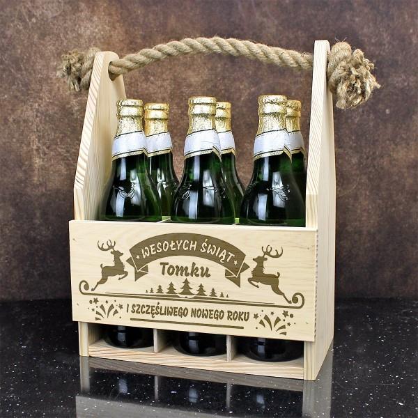 drewniana skrzynka na piwo na prezent na mikołajki