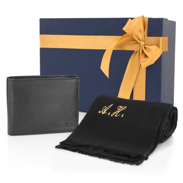 portfel męski z szalikiem w pudełku na prezent na gwiazdkę