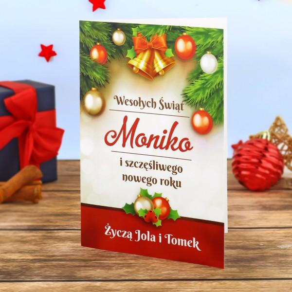 kartka świąteczna z drukiem życzeń