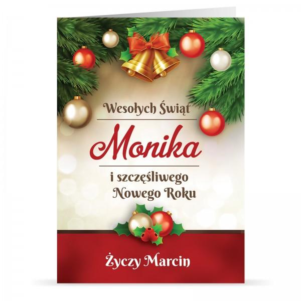 kartka z okazji bożego narodzenia i nowego roku dla niej