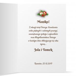 kartka z personalizacją I życzeniami dla dziewczyny na boże narodzenie i nowy rok