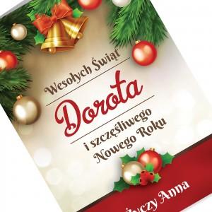 spersonalizowana kartka z nadrukiem dedykacji na boże narodzenie i nowy rok dla przyjaciółki